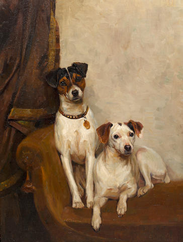 Emil W. Herz (German, born 1877) Study of two Jack Russell terriers