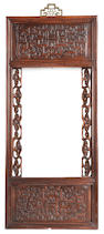 A Chinese hardwood rectangular frame Early 19th century
