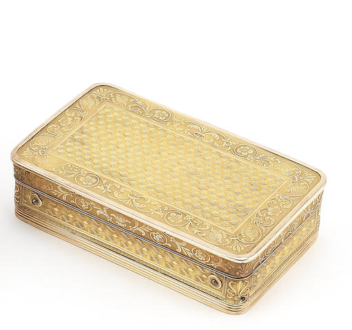 A silver-gilt musical snuff box, Swiss movement, French case, first half of the 19th century,