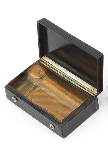 An Auber et Fils tortoiseshell and enamel musical snuff box, Swiss, mid 19th century,