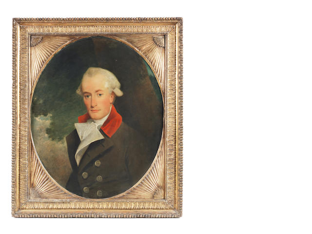 English School, circa 1780 Portrait of a gentleman, half-length, in naval uniform, in a carved and gilt 18th Century frame