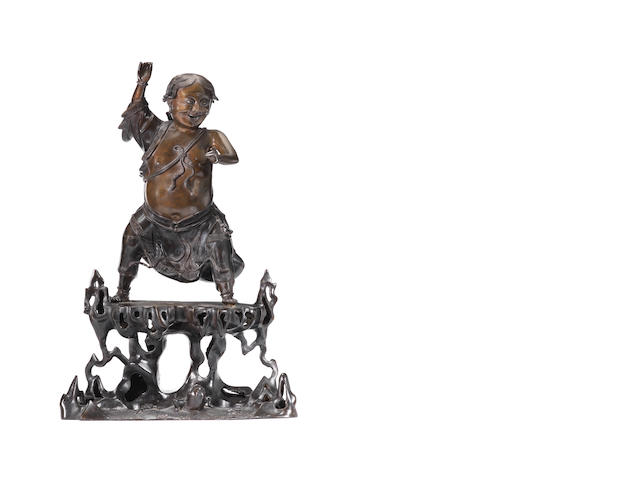 A large and impressive bronze figure of Liu Hai Early 18th century
