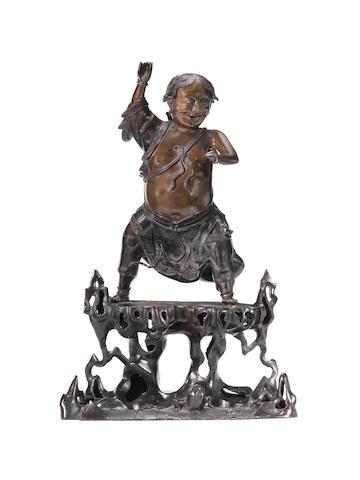 A large and impressive bronze figure of Liu Hai Early 18th century