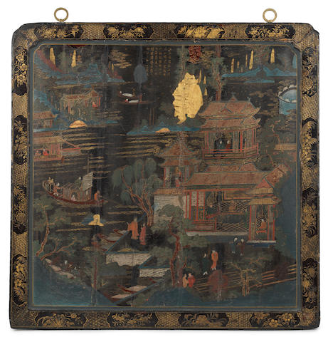 A painted lacquered square panel, 18th/19th century