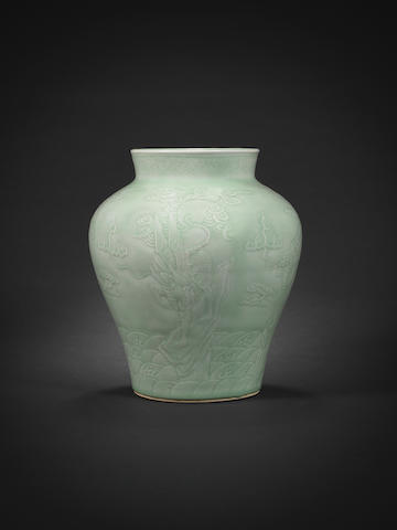 A celadon-glazed carved baluster jar 18th century