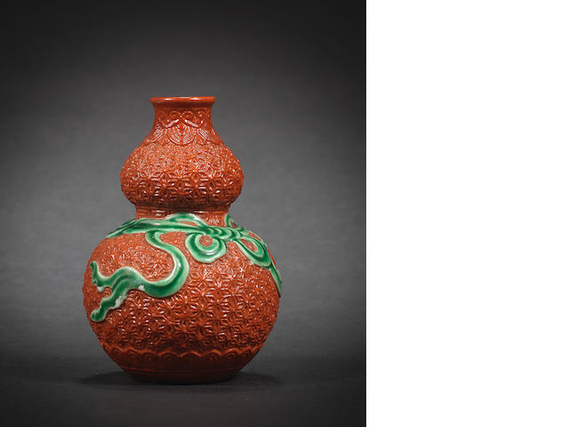 A red-enamelled simulated-lacquer double-gourd vase Qianlong