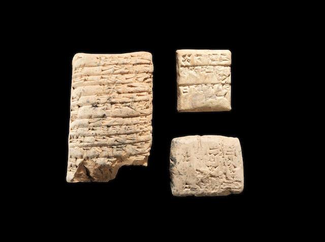 Three Mesopotamian terracotta cuneiform tablets 3