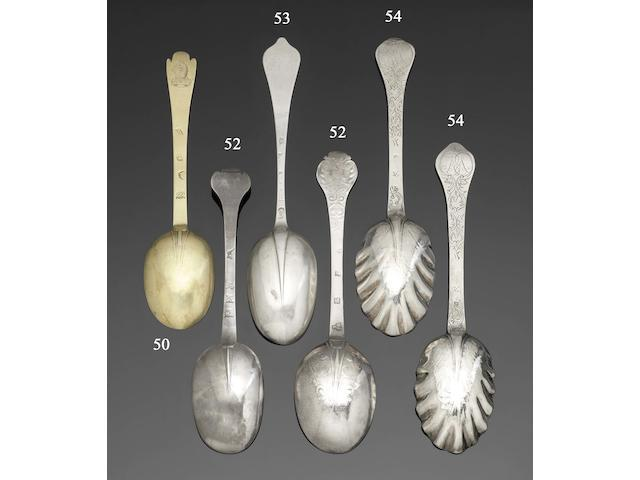 A James II provincial silver lace-back trefid spoon by William Ramsay, Newcastle, circa 1686, together with a William III provincial silver trefid spoon, by Thomas Havers, Norwich 1691 (2)