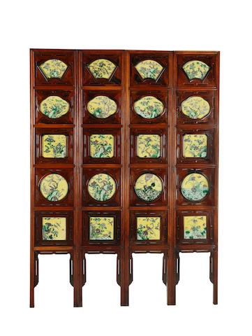 An unusual famille jaune porcelain-inlaid four-leaf hardwood screen 19th Century