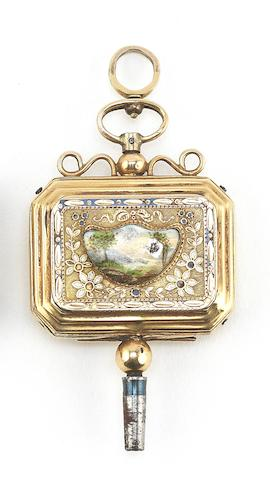A gold and enamel musical watch key, Swiss, circa 1825,