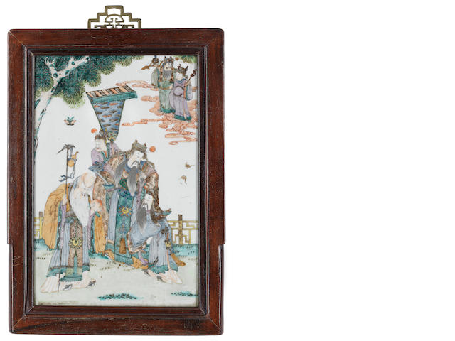A wood-mounted, enamelled rectangular plaque 19th century