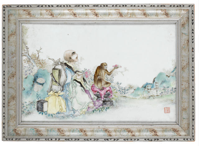 A famille rose rectangular plaque 19th or 20th century
