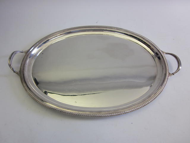 A silver two-handled tray by Richard Woodman Burbridge, Sheffield 1966