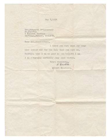 EINSTEIN (ALBERT) Typed letter signed, in English, to Mrs Margaret Brackenbury, sending thanks for a Bible, 1954