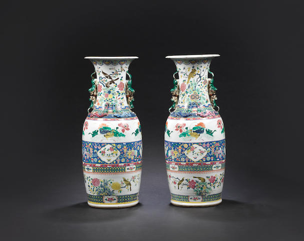 A pair of large famille rose vases Late 19th century