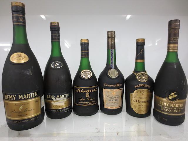 Hine Napoléon Extra Vieille Fine Cognac (1 litre & 1 half-litre)  Rémy Martin Napoléon Centaure Fine Champagne Cognac (1)  Hennessy Napoléon Cognac (1)  Courvoisier Napoléon Cognac (2 bottles & 1 half-bottle)  Martell Cordon Bleu Cognac (1)  Bisquit Gold Réserve Cognac (1)  Rémy Martin VSOP Fine Champagne Cognac (1 x 1.5, 1 x 1.4, 1 x 1.1 litres)  Martell VSOP Médaillon Cognac (3 litres)  Otard VSOP Fine Champagne Cognac (1 litre)