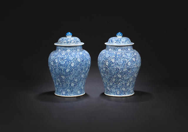 A large pair of blue and white vases and covers Kangxi
