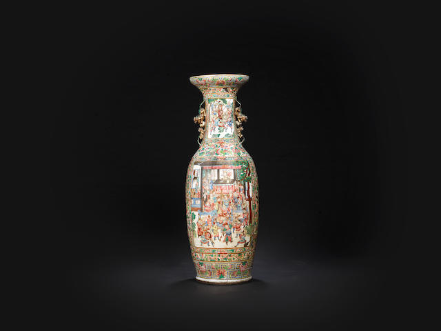 A very large Canton famille rose 'Outlaws of the Marsh' vase 19th century