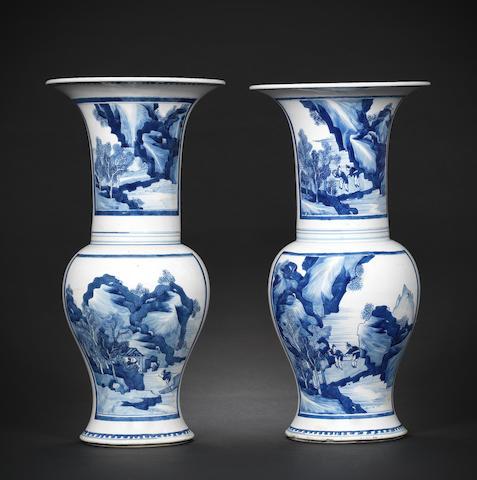 A pair of blue and white yenyen vases Kangxi