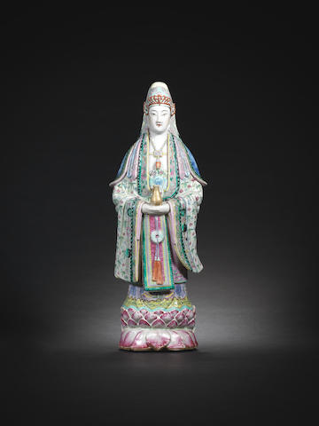 A famille rose figure of Guanyin Qing Dynasty