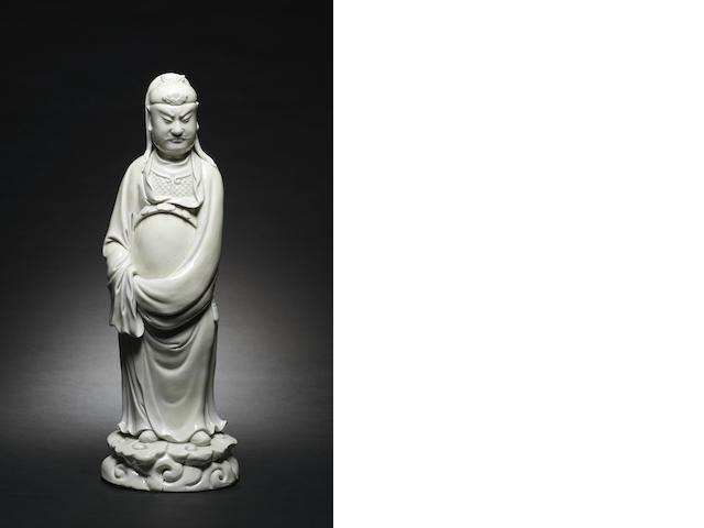 A blanc-de-chine figure of Guandi 17th century