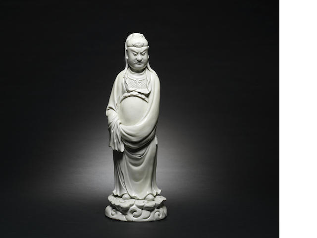 A blanc-de-chine figure of Guandi 17th century