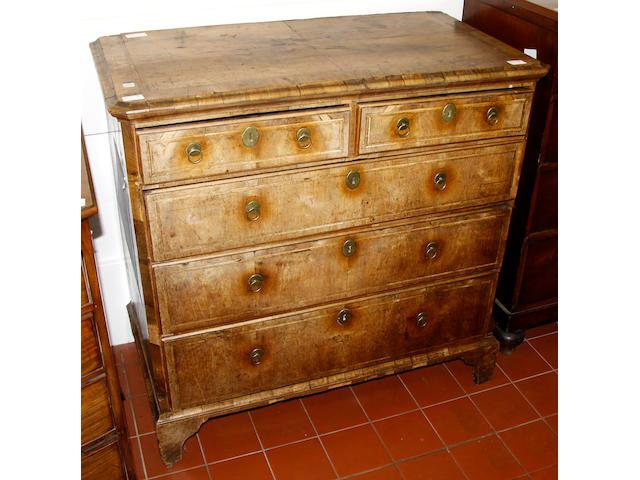An 18th century walnut veneered chest
