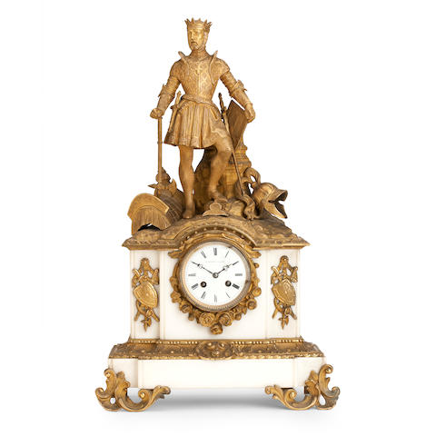 A 19th century marble and ormolu mantel clock The dial inscribed H. Rochat A, Paris