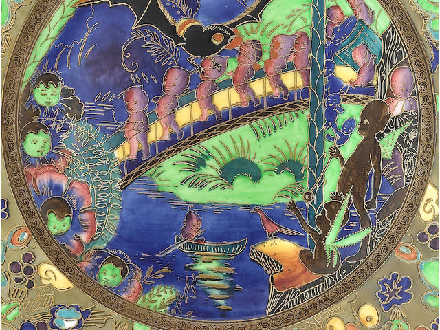 Daisy Makeig-Jones for Wedgwood 'Roc Centre' an Unrecorded Fairyland Lustre Lincoln Plate, circa 1925