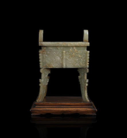 An archaistic green jade rectangular incense burner, fang ding 17th/18th century