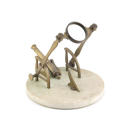 A brass and marble cannon sundial or noon day gun, French, circa 1800,