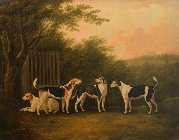 John Nost Sartorius (British, 1759-1828) A pair of hounds and a pair of bitches in a landscape with a castle beyond 28 x 35 13/16in. (71 x 91cm.)