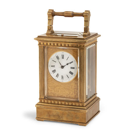 A 19th century French gilt quarter-striking repeating carriage clock The movement stamped Richard (C.A. et Cie)