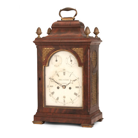 A George III and later mahogany bracket clock Inscribed Isaac Rogers, London