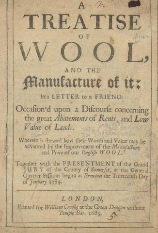 AGRICULTURE - CLARKE (GEORGE) A Treatise of Wool, and the Manufacture of it, 1685; [MARKHAM (GERVASE)] Cheape and Good Husbandry For the well-Ordering of all Beasts, and Fowles, and for the generall Cure of their Diseases, 1631; and one other (3)
