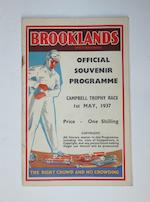 A rare 1937 BARC Brooklands Campbell Trophy race poster,