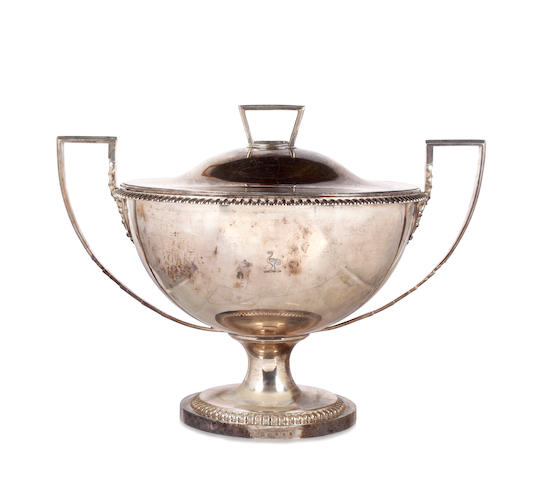 A George III silver twin handled soup tureen and cover