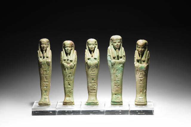 Five Egyptian green glazed composition shabtis 5
