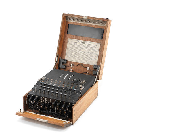 A rare three-rotor Enigma enciphering machine, German, circa 1940-41,