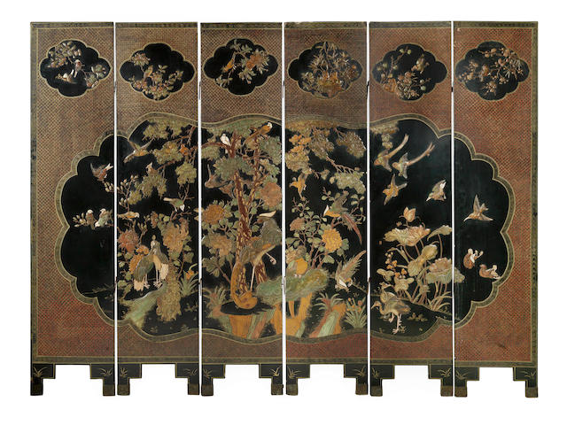 A six-leaf hardstone-inlaid gilt lacquer screen 19th century