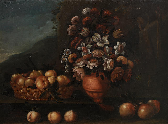 Neapolitan School, 18th Century Roses, lilies, poppies and other flowers in a vase on a stone ledge