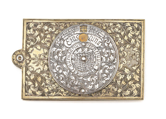 A brass, silver and ivory perpetual calendar and aide-memoire, German, circa 1700,