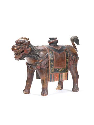 An unusual large painted lacquer model of a qilin Qing Dynasty