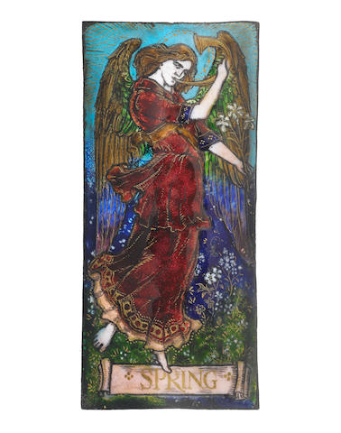 Morris & Co (attributed) 'Spring' an Arts and Crafts Enamelled Plaque, circa 1880