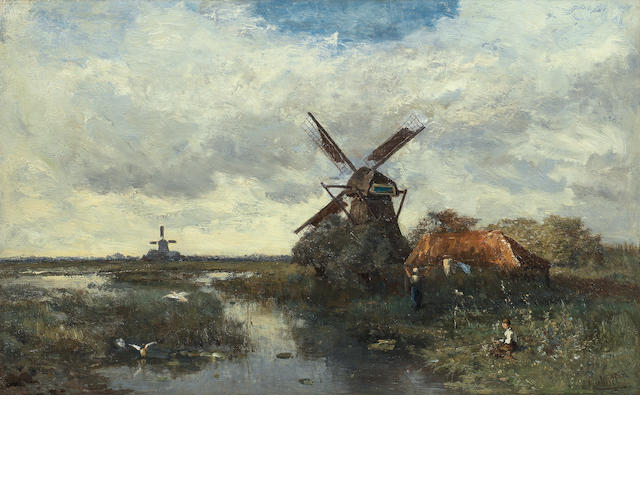 Paul Joseph Constantin Gabriël (Dutch, 1828-1903) Landscape with windmills