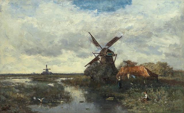 Paul Joseph Constantin Gabriël (Dutch, 1828-1903) Landscape with windmills