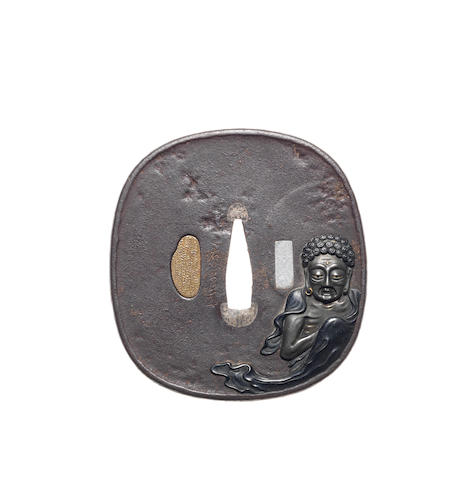 A large iron tsuba By Toshihide, Tanaka School, mid 19th century