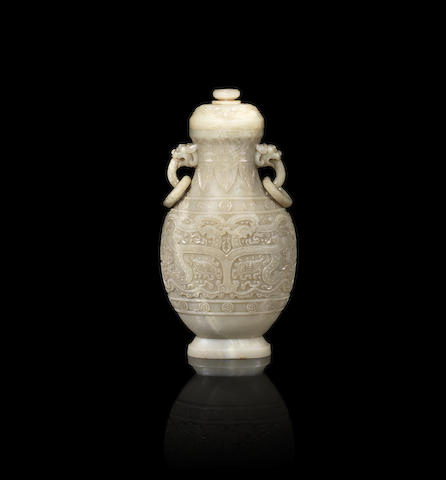 A rare and large archaistic pale green and grey jade archaistic vase and cover Qianlong fang gu four-character mark and of the period