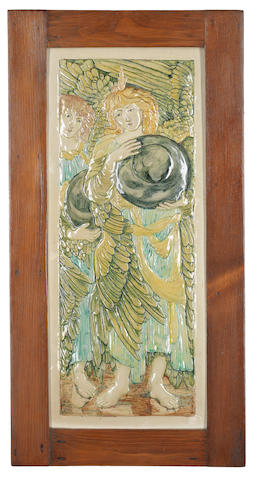 Cassandia Ann Walker for Della Robbia 'Days of Creation - Day Two' (after the design by Sir Edward Coley Burne-Jones)' a Rare Tile Low-relief Panel, circa 1905