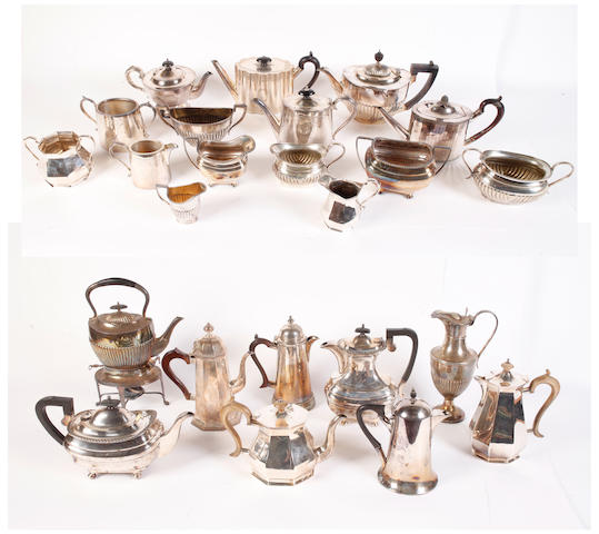 Two silver plated four piece tea services